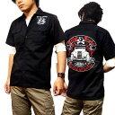 ワークシャツ ボーリングシャツ ダーツシャツ メンズ バイカー ロック 半袖シャツ ブラック 黒 モーターサイクル 刺繍 大きいサイズ メ…