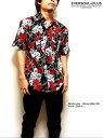 ウエスタンシャツ スカル ローズ 薔薇 半袖シャツ メンズ ブラック 柄シャツ ガラシャツ 送料無料 / スカル&ローズ総柄プリントのロッ…