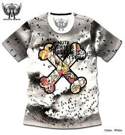 スカル クロスボーン Tシャツ 半袖 メンズ MINUTE MIRTH ミニットマース フルカラー総柄スカルプリント半袖メンズTシャツ!【ダンス 衣装 HIP HOP ヒップホップ】
