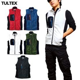 TULTEX フリースベスト メンズ フリース ベスト ジップアップ ハイネック ファスナー 軽量 秋 冬 3L アウトドア 防寒 暖かい ウォーキング