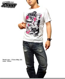 キャラクタープリントTシャツメンズ半袖tシャツアメコミおしゃれかわいいEVERSOULxjbstyleコラボイラスト白黒ブラック杢グレー