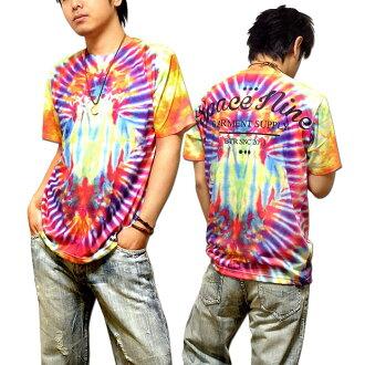 领带染料打印 T 衬衫男子的全彩色徽标: logo 印刷彩色领带染料图案的 T 恤! 在大街上,舞蹈服饰!