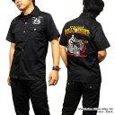 ロカビリーシャツ ボーリングシャツ ダーツシャツ メンズ バイカー ロック 半袖シャツ 送料無料 / BILLY EIGHTのモーターサイクル刺繍…