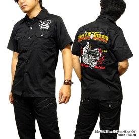 ロカビリーシャツ ボーリングシャツ ダーツシャツ メンズ バイカー ロック 半袖シャツ モーターサイクル 刺繍 ワークシャツ XXL 3L 大きいサイズ メンズファッション