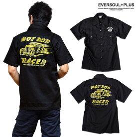 ロカビリーシャツ ボーリングシャツ ダーツシャツ メンズ バイカー ロック 半袖 シャツ ブラック 黒 モーターサイクル 刺繍 ワークシャツ 大きいサイズ メンズファッション XXL 3L