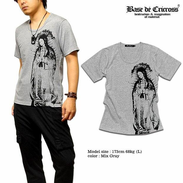 BASE De CRICROSS Tシャツ メンズ マリア プリント 日本製 Uネック / 100%日本製ならではのハイクオリティな質感が魅力の聖母マリアプリントUネックTシャツ!【JPN】