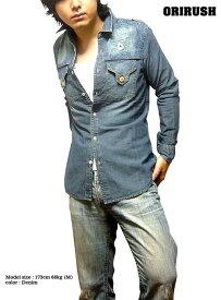 デニムシャツ メンズ 長袖 : ウォッシュ加工でペイズリー模様が浮かぶビンテージ感溢れる長袖メンズデニムシャツ!