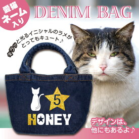 ● 猫 名入れ デニムバッグ ゴールスター 数字入り お散歩バッグ ミニトート かわいい ミニバッグ ランチバッグ 小さめ かばん ギフト プレゼント ペット