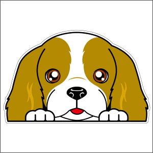 ● 車 シール ステッカー 耐水 キャバリア フェイスステッカーBIG ペット 犬 転写シール 名入れ 対象外 ペット
