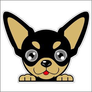 ● 車シール ステッカー 耐水 チワワ スムースチワワ 黒 フェイスステッカーBIG ペット 犬 転写シール 名入れ 対象外 ペット