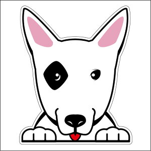 ● 車 シール ステッカー 耐水 ブルテリア フェイスステッカーBIG ペット 犬 転写シール 名入れ 対象外 ペット