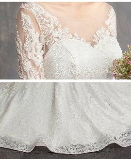 花嫁 ウェディングドレス フィッシュテール 小さいサイズ 袖あり Vネック 着痩せ 結婚式 二次会 ドレス 編み上げ 締め上げ レース ロングドレス ウエディングドレス 撮影用 韓国風 エレガント XS/M/L/XL/2XL da272t2t2t2