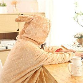 ふわふわ毛布着る毛布暖か耳付きうさ耳ケープマントファスナーボタンルーム用品柔らか可愛い昼寝プレゼントギフトグレーピンクベージュ花柄dg189t2t2t2