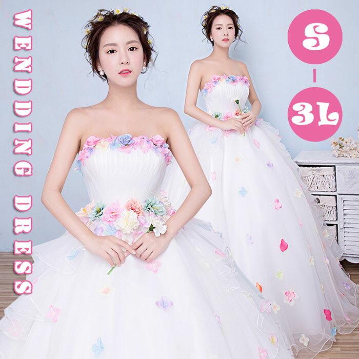 【サイズ有S/M/L/2L/3L】花嫁 ウェディングドレス ベアトップタイプ 白ドレス 妊婦さんもOK プリンセスドレス 結婚式 二次会 ドレス 締め上げタイプ ロングドレス da017n1n1n1/代引不可 05P18Jun16