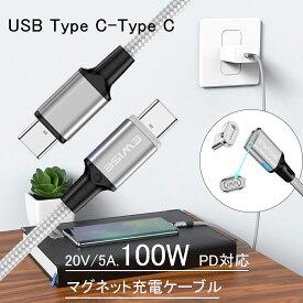 【Type-c端子2個付】Ewise 11代 マグネット PD充電ケーブル 1.8m [USB type C/USB type C 専用] PD・高速充電対応 100W (磁力による着脱式) 防塵 ノードパソコン MacBook、iPad、Galaxy、Pixel等Type-c機種対応