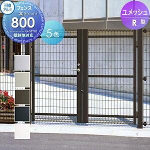 門扉 スチール ユメッシュR型 両開き門扉打ち掛け錠 1008 W1000×H800 三協アルミ 三協立山 PYM-R 境界 屋外 太陽光 発電 ソーラーパネルの囲いフェンスに最適DIYで犬小屋も ガーデン 塀 壁 囲い