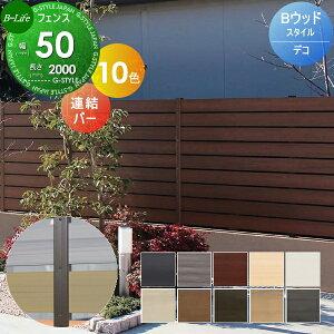目隠しフェンス DIYフェンス 固定部品-共通 ウッドスタイルフェンス 連結バー W50×L2000 デコ2 人工ウッド 人工木材 樹脂製 フェンス横張り 樹脂製フェンス板材
