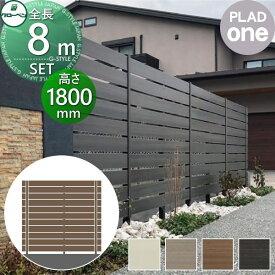 グローベン 目隠しフェンス 樹脂 DIY プラドワン 長さW8000mm×高さH1770mm(11段) 板隙間10mm 組立て部材セット 複層合成木材