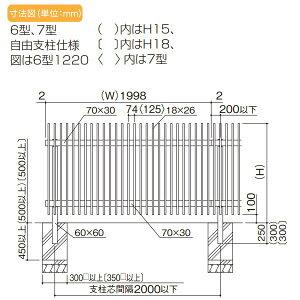 大型フェンス四国化成【大型フェンスTAF7型本体(傾斜地共用)H1500】TAF7-1520ガーデンDIY塀壁囲いエクステリア