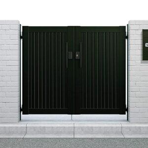 形材門扉アルミ塀鍵YKKap【シンプレオ門扉6型両開き・オートクローザ付き門柱】09-14HME-6たて目隠したて目隠し形材門扉