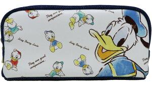 【送料無料 ネコポス発送限定品】Disney ディズニー ドナルドダック Donald Duck ペンケース ボックスペンポーチ ポーチ マルチポーチ 合皮 デニム ホワイト/デニムネイビー【日本正規メーカー
