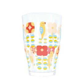 【KOTORITACHI】タンブラー セキセイと花 ◆小鳥グッズ 小鳥雑貨 キッチン キッチン用品 コップ ガラス製品 セキセイインコ