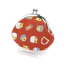 【なごみ×濱文様】2.6がま口 オカメインコ 赤 RD ◆クリックポスト対応◆小鳥グッズ 小鳥雑貨 和雑貨 和小物 ポーチ 財布 コインケース 小物入れ