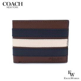 コーチ 財布 アウトレット メンズ 二つ折り財布 F26171 N3D COACH サドル×ミッドナイト×チョーク 【あす楽】 エクセルワールド 財布 ブランド プレゼントにも