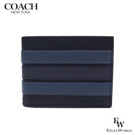 コーチ 財布 アウトレット メンズ 二つ折り財布 F26171 N3E COACH ブラック×デニム 【あす楽】 エクセルワールド 財布 ブランド プレゼントにも