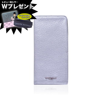 CHROMEHEARTS铬赫茨iPhone iPhone情况WALLET-SLIP CASE IPHONE BLK MID WT LTHER CH SCROLL LABEL银子