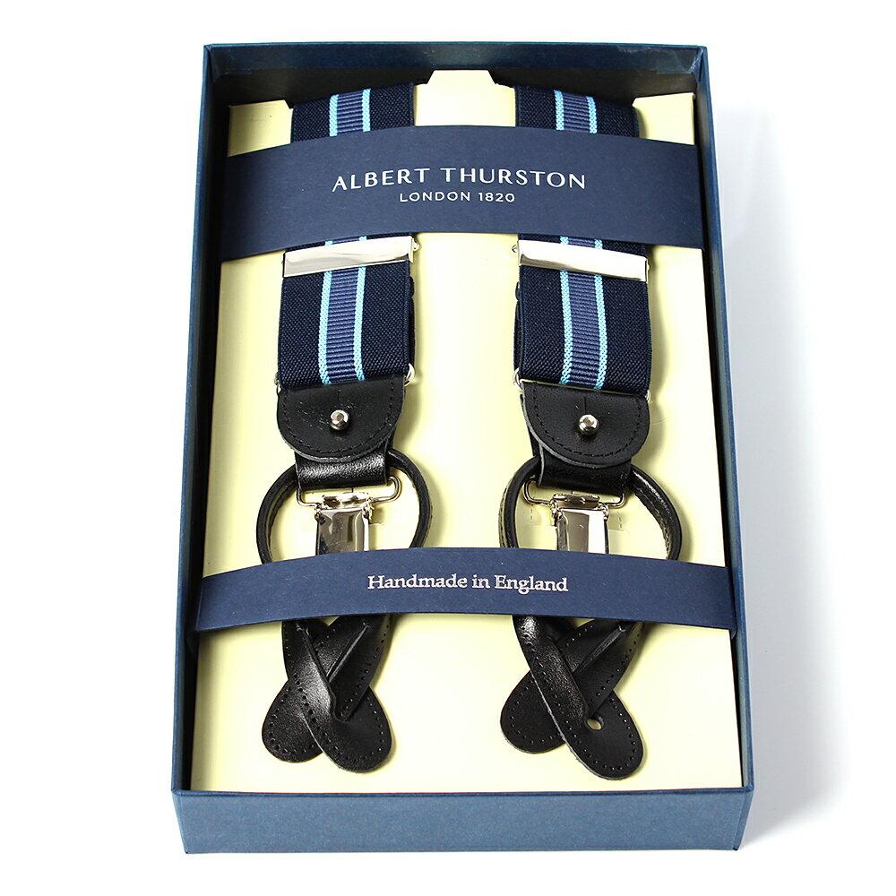 アルバートサーストン サスペンダー ネイビー ブルーライン/ALBERT THURSTON ブレイシーズ ゴムタイプ メンズ ブランド