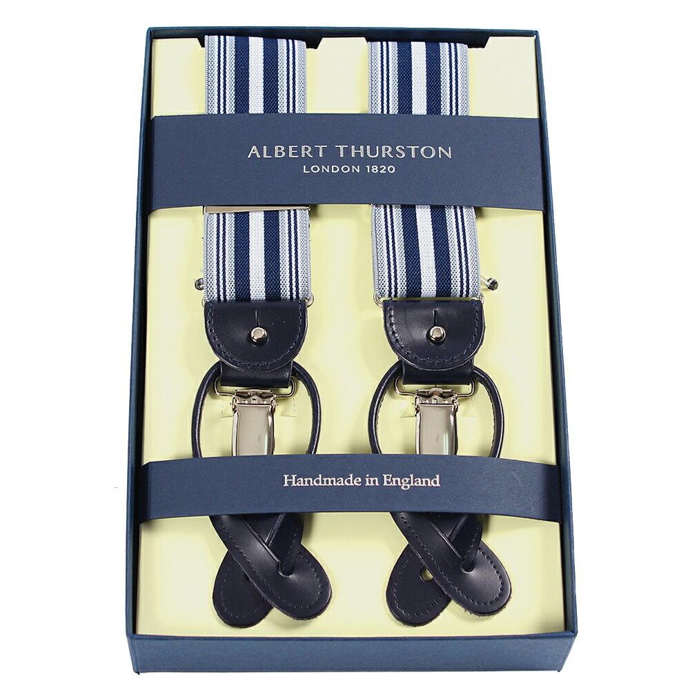 アルバートサーストン サスペンダー ストライプ ブルー エラスティック(ゴム)/ALBERT THURSTON BRACES Stripe Blue Elastic/ メンズ ブランド