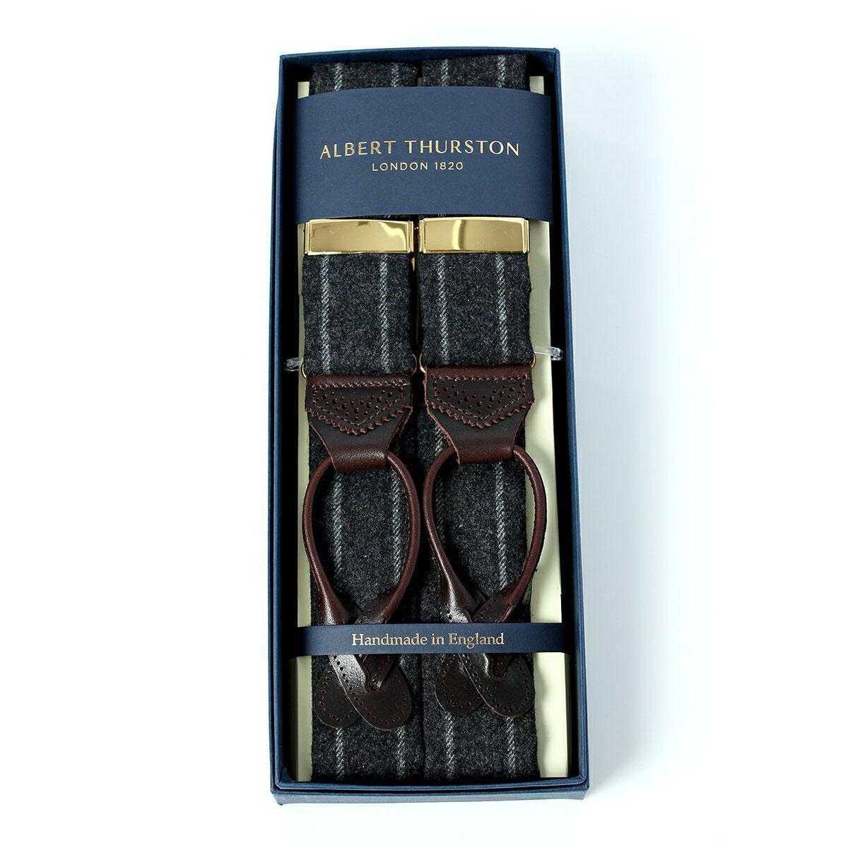 アルバートサーストン サスペンダー ブラック ウール チョークストライプ/ALBERT THURSTON Bkack Chalk Stripe Woolen Braces メンズ ブランド