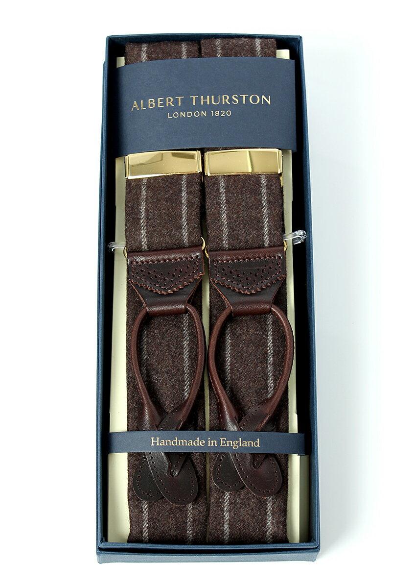 アルバートサーストン サスペンダー ブラウン ウール チョークストライプ/ALBERT THURSTON Brown Chalk Stripe Woolen Braces メンズ ブランド