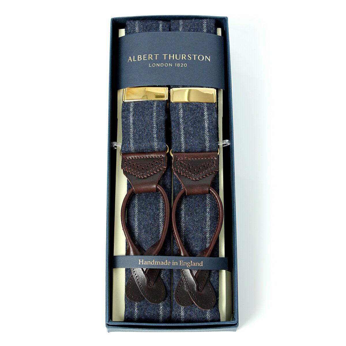 アルバートサーストン ネイビーサスペンダー ウール チョークストライプ/ALBERT THURSTON Navy Chalk Stripe Woolen Braces メンズ ブランド