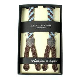 アルバートサーストン ALBERT THURSTON メンズサスペンダー リネンブレード ブルーブラウン Y型 Lサイズ