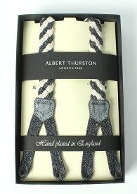 アルバートサーストン ALBERT THURSTON メンズサスペンダー リネンブレード ネイビーホワイト Y型 Lサイズ