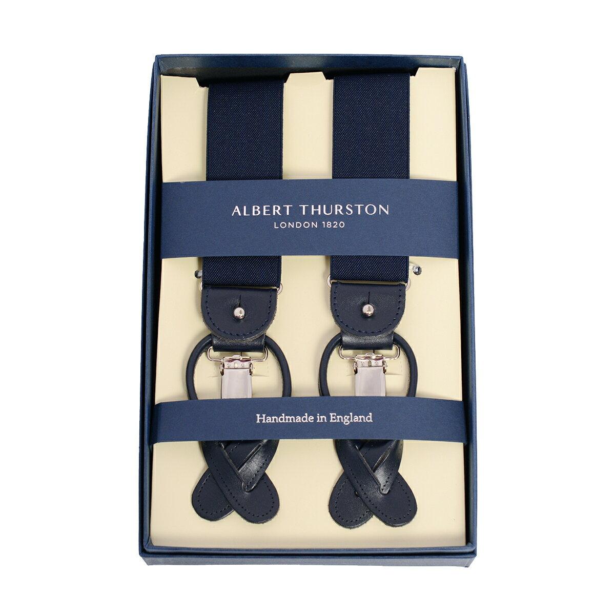 アルバートサーストンALBERT THURSTON サスペンダー ネイビー エラスティック/タキシードサスペンダー/サスペンダー紺