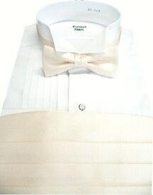 カマーバンド&蝶ネクタイ/ 高級素材の拝絹地を使用した蝶ネクタイとカマーバンドのセット/カマーバンド白