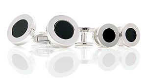 EXCY FORMAL 純銀製オニキスカフリンクス スタッドボタンセット シルバー 日本製