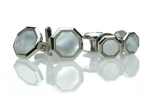 日本製カフススタッド 美しい白蝶貝のカフスとスタッドボタンのセット