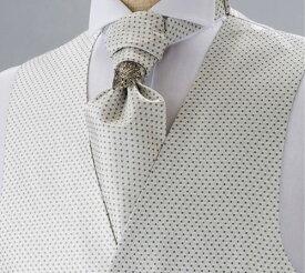 フォーマルベストセット シルバーホワイト 小紋柄シルクジャカード メンズ 日本製