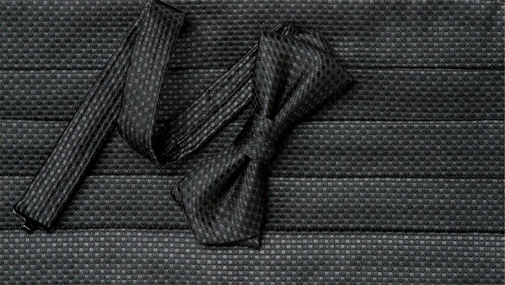 日本製シルクカマーバンド&蝶ネクタイセット ブラック 鹿の子柄