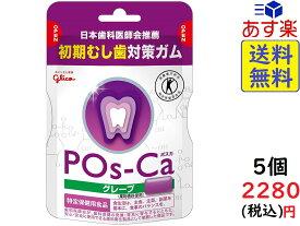 トクホ 江崎グリコ ポスカ グレープ エコパウチ 初期虫歯対策ガム 75g×5個 賞味期限2023/04