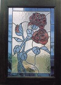 ステンドグラス ローズ2型(87010)(ジャービス商事)ウォールデコレーション インテリア インテリアガラス ディスプレイ レトロ フラワー 花 バラ 薔薇