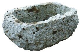 大谷石割肌鉢 U-3型(35703)(ジャービス商事)エクステリア ガーデニング用品 園芸用品 ディスプレイ 自然石 石鉢