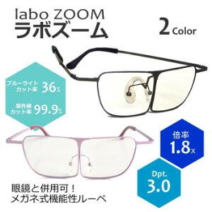 メガネ式 両手が使える機能性ルーペ ラボズーム +1.8(3.0D) オーバーグラス 作業用 ブルーライトカット 虫めがね 眼鏡型ルーペ プレゼント 敬老の日 紫外線カット 拡大鏡