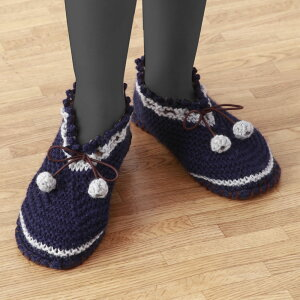 すべりにくい手編みルームシューズネイビーL スリッパ 毛糸 手芸 裁縫 冬 もこもこ 初心者 スリッパ 編み物キット 編み棒 手作りキット セット 手編み