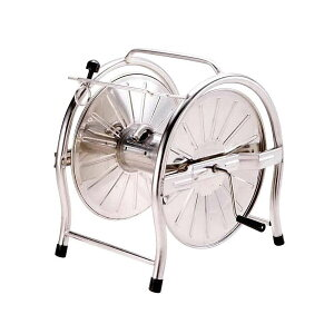 ステンレスホースリール(ドラム) SH-K 園芸 ステンレス 丈夫 錆びに強い 50m巻用 日本製 お庭 ガイド機能付き ステンレス製 ガーデニング おしゃれ 洗車