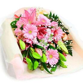 花束「華やかなユリの花束・ピンク」 【電報なし】 送料無料【電報メッセージは付きません】 花 日本国内宛限定 翌日配送 あす楽